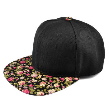 Gorra Snapback negro / rosas