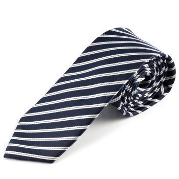 Corbata de microfibra azul marino y blanco