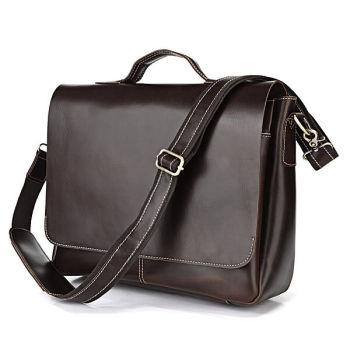 Brown Denim Detail Leather Satchel