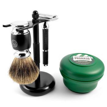Conjunto de Barbear Clássico Preto