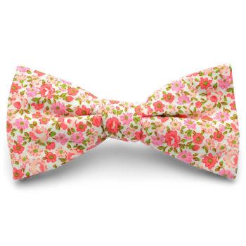 Pajarita rosa y roja floral en algodón