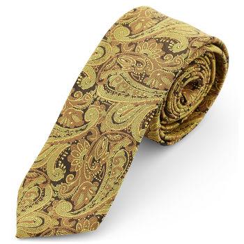 Corbata de poliéster dorado con estampado de cachemira
