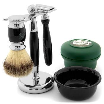 Conjunto de Barbear em Esmalte Preto