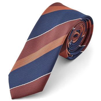 Corbata a rayas azul y granate