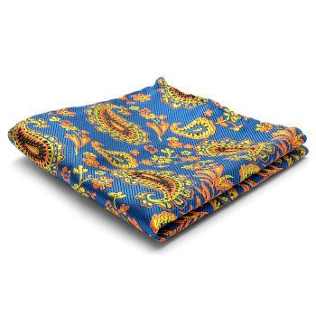 Pañuelo de bolsillo de seda con estampado de cachemir naranja