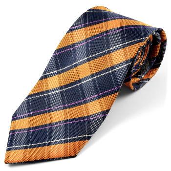 Corbata de seda a cuadros naranja y azul marino