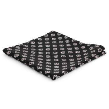 Pañuelo de bolsillo de seda negra geométrico