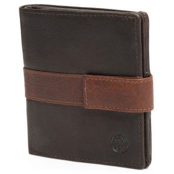 Montreal Vertical Brown & Tan RFID Leather Wallet