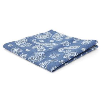 Pañuelo de bolsillo azul con estampado cachemira blanco