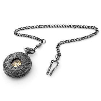 Reloj de bolsillo todo en negro con adornos
