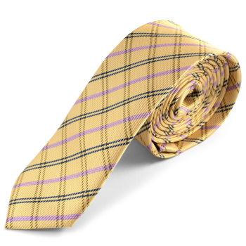 Corbata dorada a cuadros