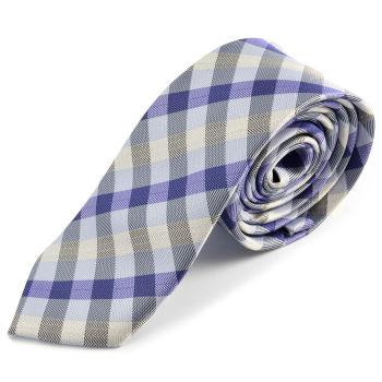 Corbata de microfibra a cuadros azul