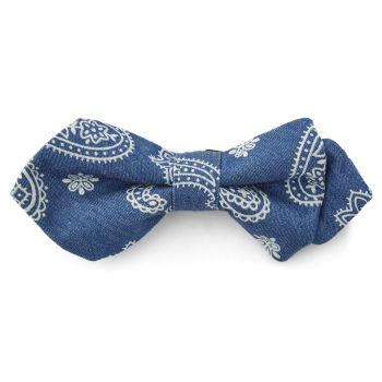 Pajarita puntiaguda azul con estampado blanco