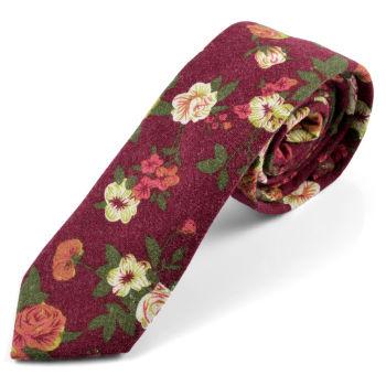 Corbata burdeos floral
