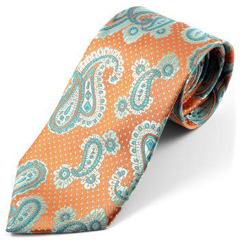Corbata de seda con estampado de cachemir verde azulado
