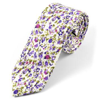 Corbata en algodón con flores púrpuras