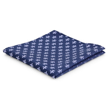 Pañuelo de bolsillo de poliéster azul marino con flor de lis