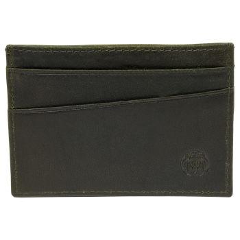 Mini Porta-cartões em Pele Verde Azeitona RFID Montreal