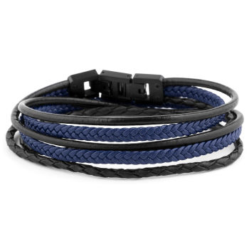 Pulsera de cuero en negro y azul Roy
