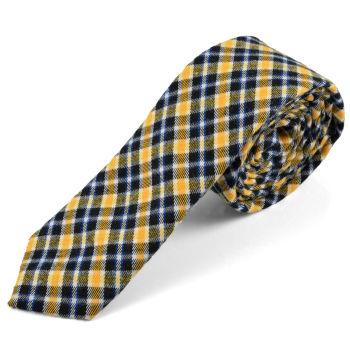 Corbata de lana a cuadros escoceses amarillos