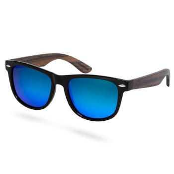 Óculos de Sol Polarizados em Madeira de Ébano Preto & Azul