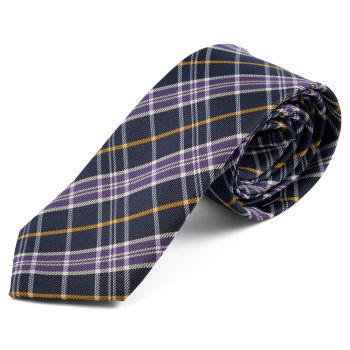 Corbata a cuadros morado y amarillo