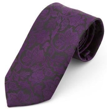Corbata ancha de poliéster barroca morada y negra