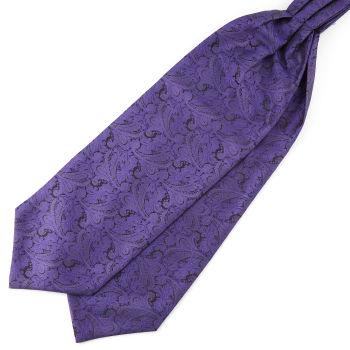 Tummanvioletti kasmirkuvioinen polyesteri ascot-solmio