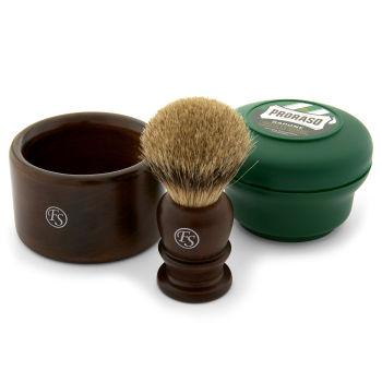 Conjunto de Barbear Clássico em Madeira de Ébano