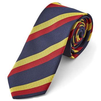 Corbata a rayas en azul, rojo y amarillo