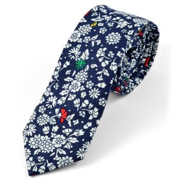Corbata en algodón con diseño floral azul
