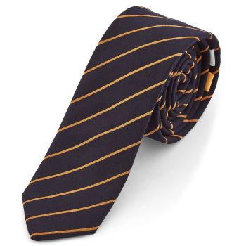 Corbata azul marino y naranja
