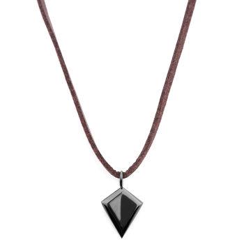 Kožený náhrdelník Čierny Triangle