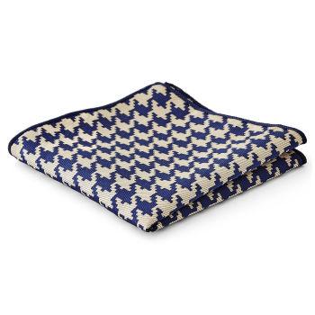 Pañuelo de bolsillo teselado azul y crema