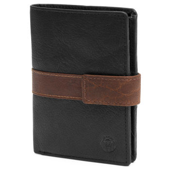 Montreal Executive Black & Tan RFID Leather Wallet