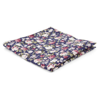 Pañuelo de bolsillo azul oscuro floral