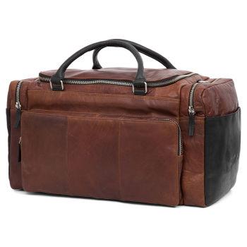 Bolsa de viaje Montreal de cuero canela y negro