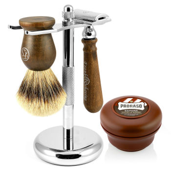 """Conjunto de Barbear """"Silvertip"""" em Madeira de Ébano"""