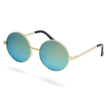 Gafas de sol redondas de espejo doradas