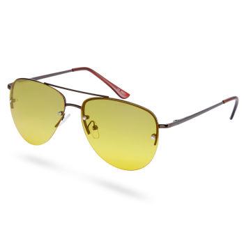 Óculos de Sol Amarelos & Castanhos Estilo Aviador