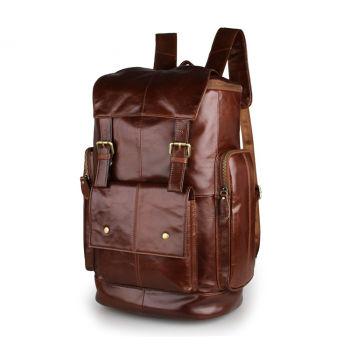 Grand sac à dos en cuir brun