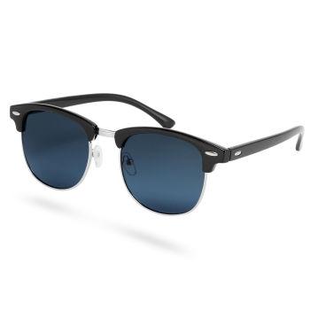 Zwarte Browline Zonnebril met Donkergetinte Gepolariseerde Glazen