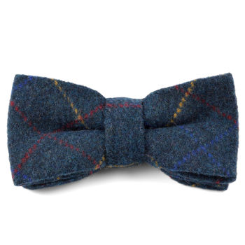 Blue Checkered Handmade Wool Bow Tie
