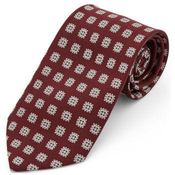 Corbata ancha de seda burdeos geométrica