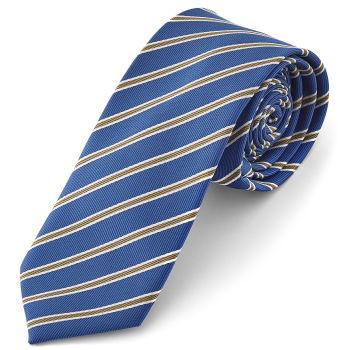 Corbata a rayas en azul y dorado
