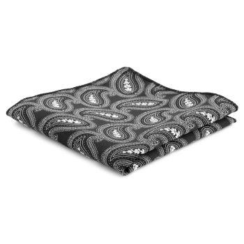 Pañuelo de bolsillo negro con estampado cachemira