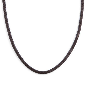 3mm Brown Woven Leather Necklace