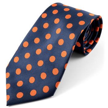 Corbata de seda con lunares naranjas
