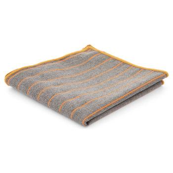 Pañuelo de bolsillo gris con rayas naranjas