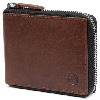 Montreal Zip-Lined Tan RFID Leather Wallet